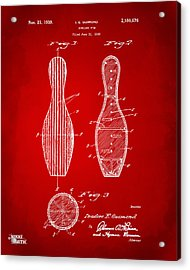 1939 Bowling Pin Patent Artwork - Red Acrylic Print by Nikki Marie Smith