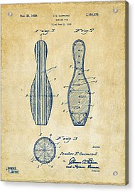 1939 Bowling Pin Patent Artwork - Vintage Acrylic Print by Nikki Marie Smith