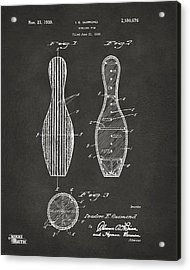 1939 Bowling Pin Patent Artwork - Gray Acrylic Print by Nikki Marie Smith