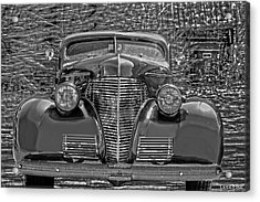 1939 Chevy Immenent Front Bw Art Acrylic Print by Lesa Fine