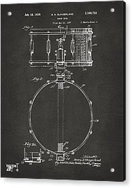 1939 Snare Drum Patent Gray Acrylic Print by Nikki Marie Smith