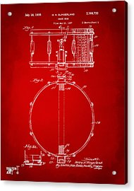 1939 Snare Drum Patent Red Acrylic Print by Nikki Marie Smith