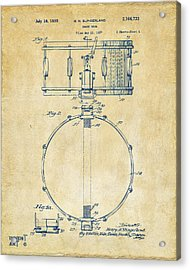 1939 Snare Drum Patent Vintage Acrylic Print by Nikki Marie Smith