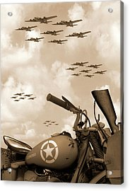 1942 Indian 841 - B-17 Flying Fortress' Acrylic Print by Mike McGlothlen