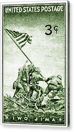 1945 Marines On Iwo Jima Stamp Acrylic Print by Historic Image