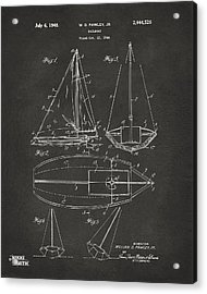 1948 Sailboat Patent Artwork - Gray Acrylic Print by Nikki Marie Smith