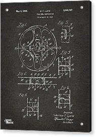 1949 Movie Film Reel Patent Artwork - Gray Acrylic Print by Nikki Marie Smith