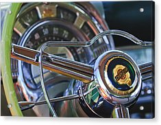1950 Chrysler New Yorker Coupe Steering Wheel Emblem Acrylic Print by Jill Reger