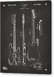 1953 Fender Bass Guitar Patent Artwork - Gray Acrylic Print by Nikki Marie Smith