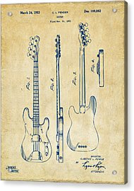 1953 Fender Bass Guitar Patent Artwork - Vintage Acrylic Print by Nikki Marie Smith