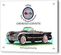1954 Corvette First Generation Acrylic Print by Jack Pumphrey