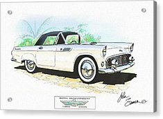 1955 Ford Thunderbird   White  Classic Car Art Sketch Rendering Acrylic Print by John Samsen