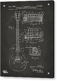 1955 Mccarty Gibson Les Paul Guitar Patent Artwork - Gray Acrylic Print by Nikki Marie Smith