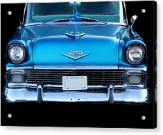 1956 Cheverolet In Blue Acrylic Print by Davandra Cribbie