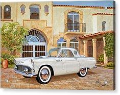 1956 Thunderbird At Palm Beach  Classic Vintage Ford Art Sketch Rendering          Acrylic Print by John Samsen