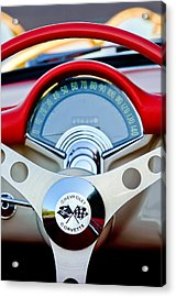 1957 Chevrolet Corvette Convertible Steering Wheel Acrylic Print by Jill Reger