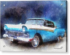 1957 Ford Classic Car Photo Art 02 Acrylic Print by Thomas Woolworth