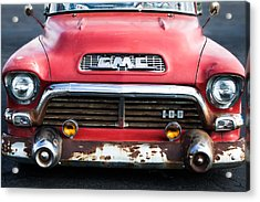 1957 Gmc V8 Pickup Truck Grille Emblem Acrylic Print by Jill Reger