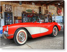 1957 Little Red Corvette Route 66 Acrylic Print by Bob Christopher