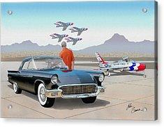 1957 Thunderbird  With F-84 Thunderbirds Vintage Ford Classic Car Art Sketch Rendering          Acrylic Print by John Samsen