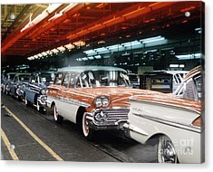 1958 Chevrolet Automobile Assembly Line Acrylic Print by The Phillip Harrington Collection