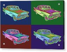 1958 Plymouth Savoy Classic Car Pop Art Acrylic Print by Keith Webber Jr