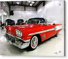 1958 Pontiac Bonneville Convertible Acrylic Print by Robert Smith