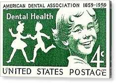 1959 Dental Health Postage Stamp Acrylic Print by David Patterson