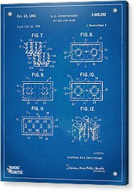 1961 Lego Brick Patent Artwork - Blueprint Acrylic Print by Nikki Marie Smith