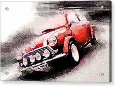 1963 Austin Mini Cooper Watercolor Acrylic Print by Naxart Studio