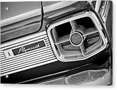 1963 Plymouth Fury Taillight Emblem -3321bw Acrylic Print by Jill Reger