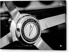 1964 Pontiac Gto Convertible Steering Wheel Emblem -1014bw Acrylic Print by Jill Reger