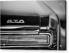 1964 Pontiac Gto Convertible Taillight Emblem -1039bw Acrylic Print by Jill Reger