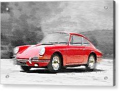 1964 Porsche 911 Watercolor Acrylic Print by Naxart Studio