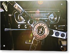 1965 Shelby Prototype Ford Mustang Steering Wheel Emblem Acrylic Print by Jill Reger