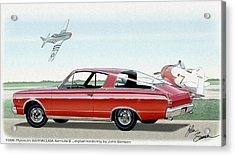 1966 Barracuda  Classic Plymouth Muscle Car Sketch Rendering Acrylic Print by John Samsen