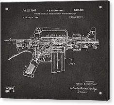 1966 M-16 Gun Patent Gray Acrylic Print by Nikki Marie Smith
