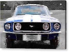 1968 Ford Mustang Front End Watercolor Acrylic Print by Naxart Studio