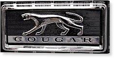 1968 Mercury Cougar Emblem Acrylic Print by David Patterson