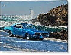 1969 Dodge Charger Rt At Oceanside Acrylic Print by Dave Koontz