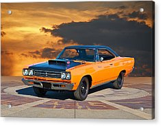 1969 Plymouth 440 6bl Roadrunner Acrylic Print by Dave Koontz