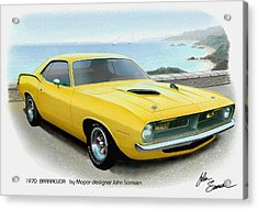 1970 Barracuda Classic Cuda Plymouth Muscle Car Sketch Rendering Acrylic Print by John Samsen