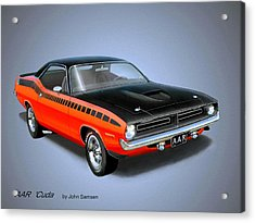 1970 'cuda Aar  Classic Barracuda Vintage Plymouth Muscle Car Art Sketch Rendering         Acrylic Print by John Samsen