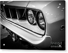 1971 Plymouth Cuda Black And White Picture Acrylic Print by Paul Velgos