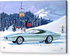 1972 Barracuda Cuda Plymouth  Vintage Styling Design Concept Rendering Sk Acrylic Print by John Samsen