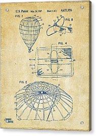 1987 Hot Air Balloon Patent Artwork - Vintage Acrylic Print by Nikki Marie Smith
