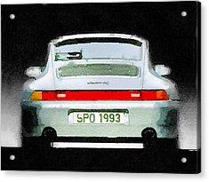 1993 Porsche 911 Rear Watercolor Acrylic Print by Naxart Studio