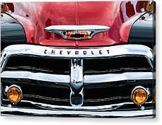 1955 Chevrolet 3100 Pickup Truck Grille Emblem Acrylic Print by Jill Reger