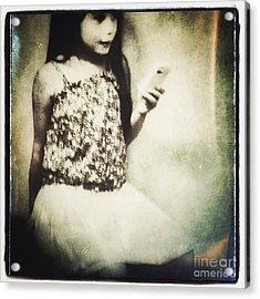 A Girl With Iphone Acrylic Print by Elena Nosyreva