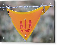 A Warning Sign About Mines Acrylic Print by Ashley Cooper